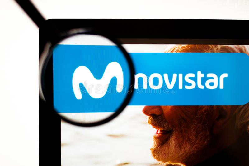 Kiev, Ukraine - 6 avril 2019 : Logo de Movistar évident illustration stock