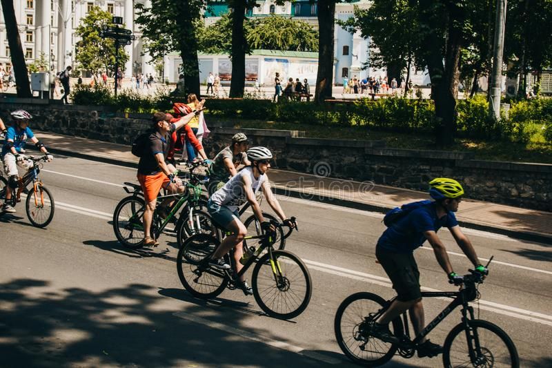 Kiev, Ukraine, 2019.06.01. Bicycle Festival. A group of cyclists rides through the streets on a sunny summer day stock image