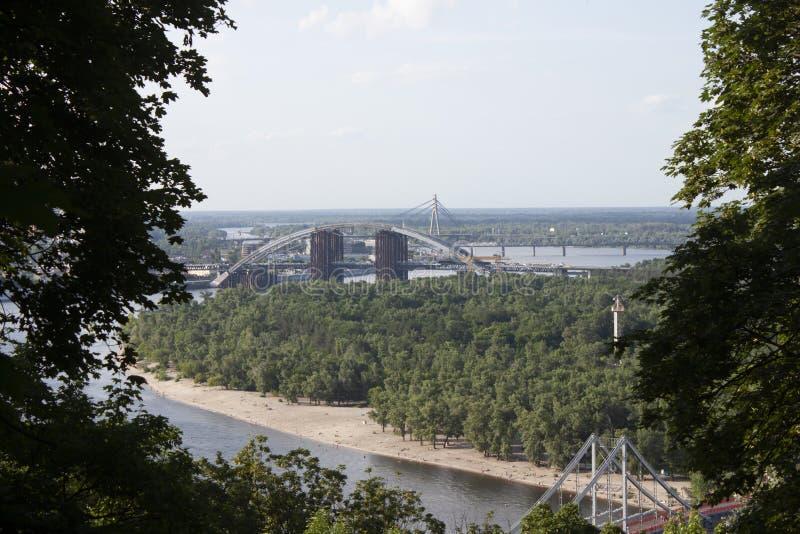 New Bridge panorama view scenic, over the Dnieper Kiev stock image