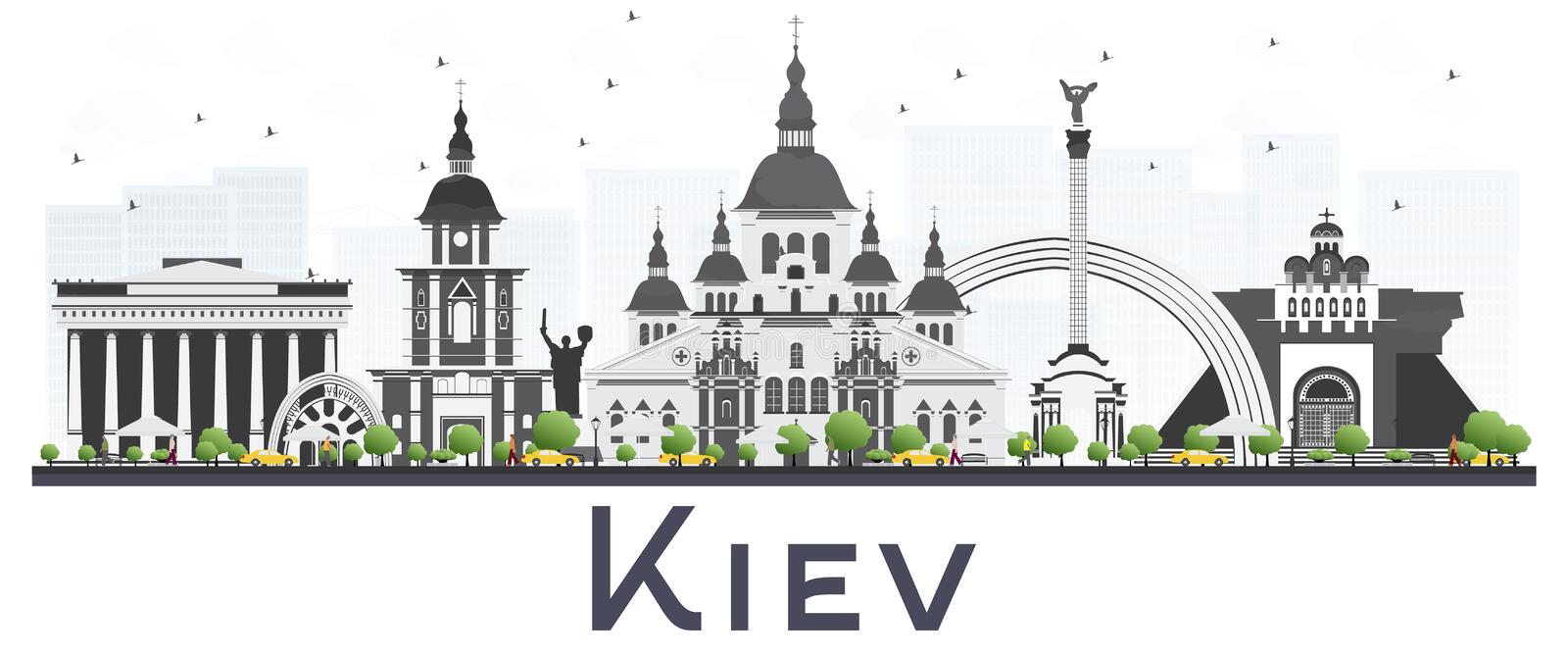 Kiev Ukraine City Skyline with Gray Buildings Isolated on White. Background. Vector Illustration. Business Travel and Tourism Concept. Kiev Cityscape with royalty free illustration