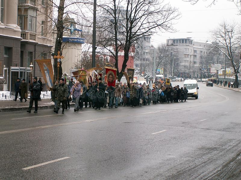 Kiev, Ukraine - 27.11.2004. The cross procession in the Orthodox Church stock image