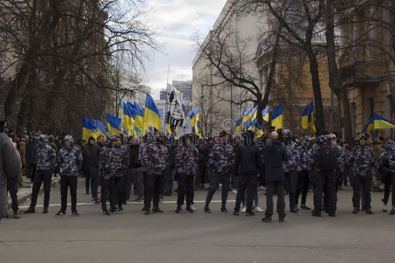 Kiev Ukraine - 23 de mars 2019 : protestation politique contre le gouvernement au centre de la capitale de l'Ukraine photo stock
