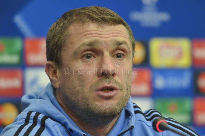 KIEV, UKRAINE - December 8, 2015: Dynamo Kiev's coach Serhiy Rebrov stock photo