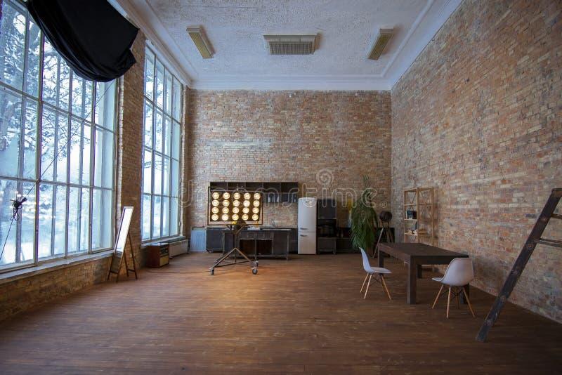 KIEV, UKRAINE - DECEMBER 19, 2018: interior in loft style in photo studio Pandora Studio. royalty free stock photo