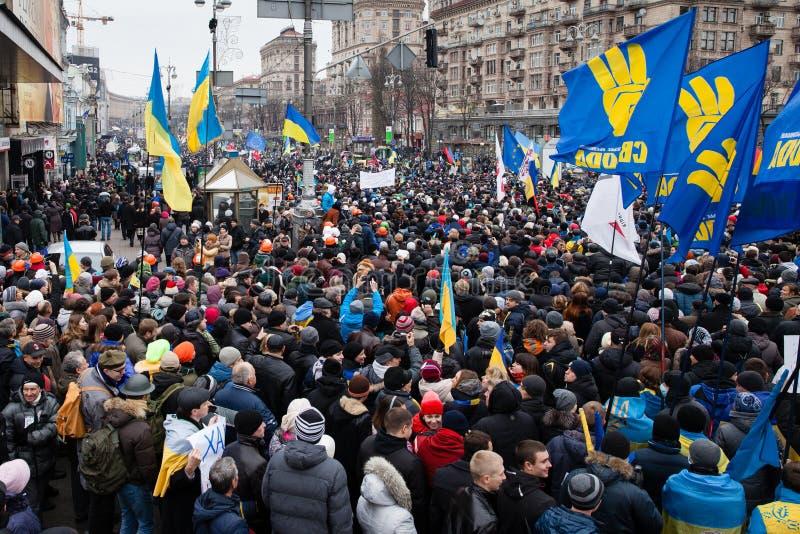 KIEV, UKRAINE - DECEMBER 1: Pro-Europe protest in Kiev. On december 1, 2013, Kiev, Ukraine stock photo