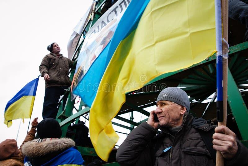 KIEV, UKRAINE - DECEMBER 1: Pro-Europe protest in Kiev. On december 1, 2013, Kiev, Ukraine stock photography