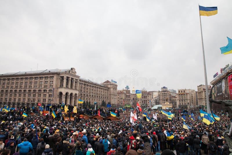 KIEV, UKRAINE - DECEMBER 1: Pro-Europe protest in Kiev. On december 1, 2013, Kiev, Ukraine royalty free stock photos