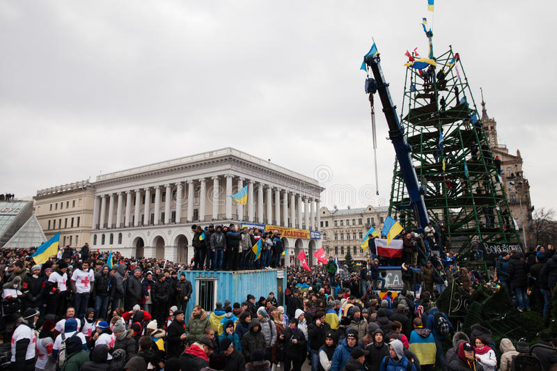 KIEV, UKRAINE - DECEMBER 1: Pro-Europe protest in Kiev. On december 1, 2013, Kiev, Ukraine royalty free stock photo