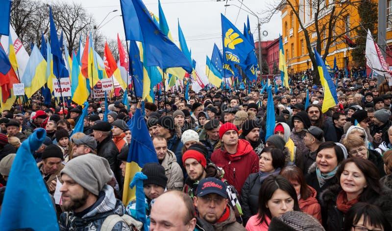 KIEV, UKRAINE - DECEMBER 1: Pro-Europe protest in Kiev. On december 1, 2013, Kiev, Ukraine royalty free stock image