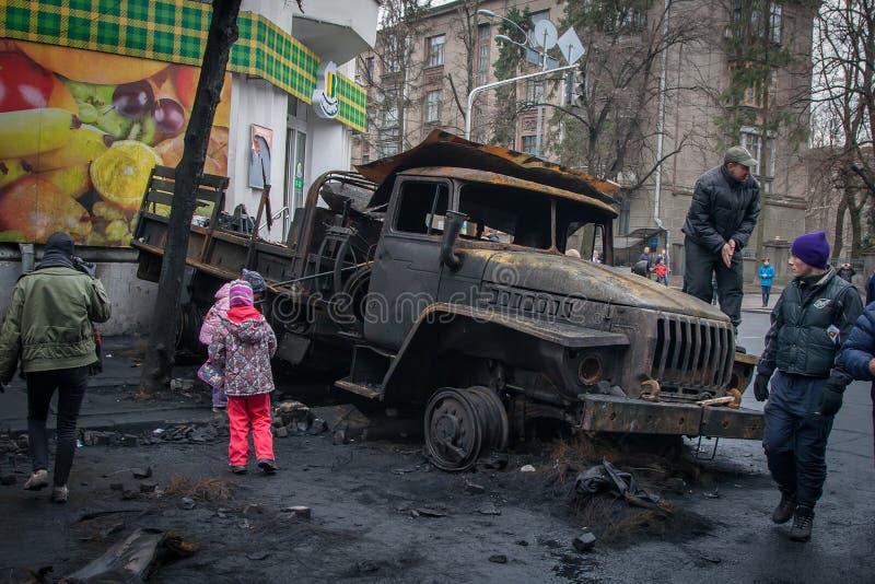 Kiev Ukraine. February 23, 2014. Burned cars on the streets of t stock photo