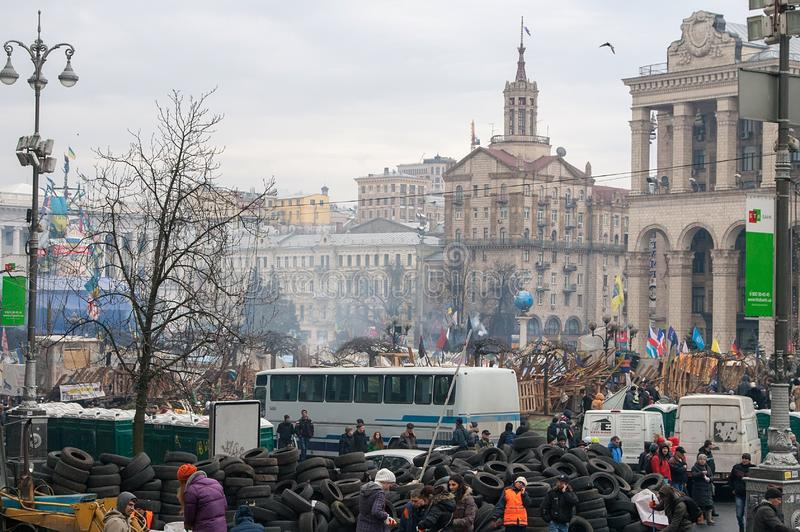 Kiev Ukraine. February 23, 2014. The central street of the city after the storming of the barricades during the EuroMaidan royalty free stock images