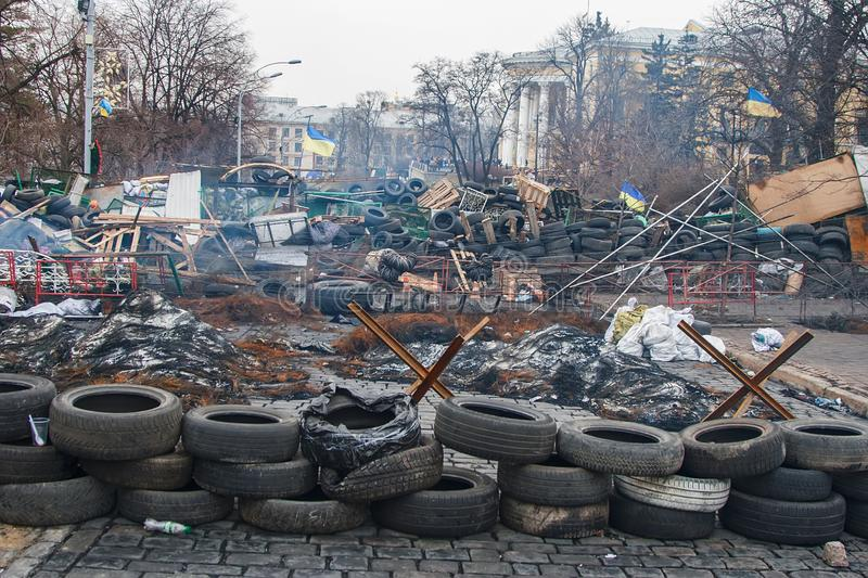 Kiev Ukraine. February 23, 2014. The central street of the city after the storming of the barricades during the EuroMaidan stock image