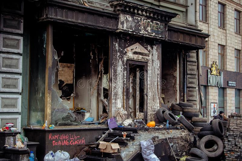 Kiev Ukraine. February 23, 2014. The central street of the city after the storming of the barricades during the EuroMaidan royalty free stock photos