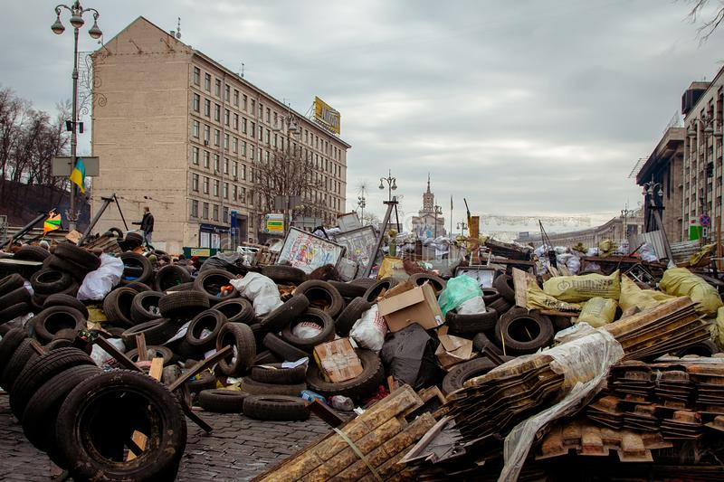 Kiev Ukraine. February 23, 2014. The central street of the city after the storming of the barricades during the EuroMaidan stock images