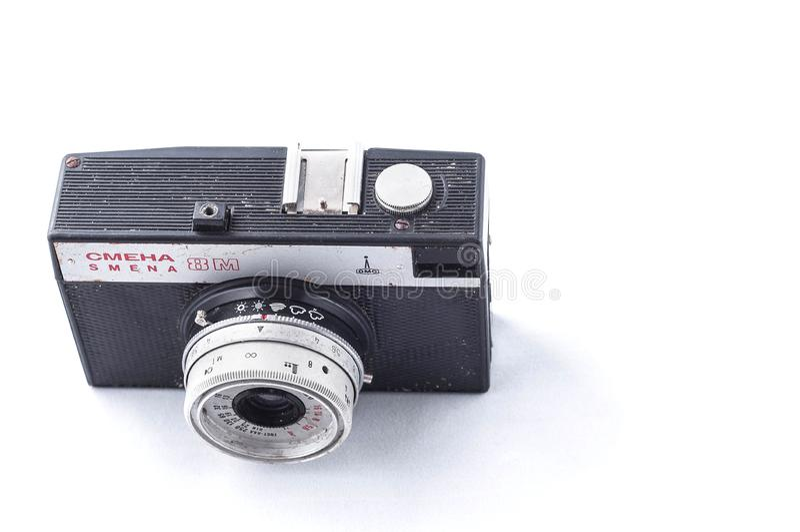 Kiev, Ukraine - February 28, 2019:8 m vintage smena vintage camera with lomo lens on white background, isolate stock image