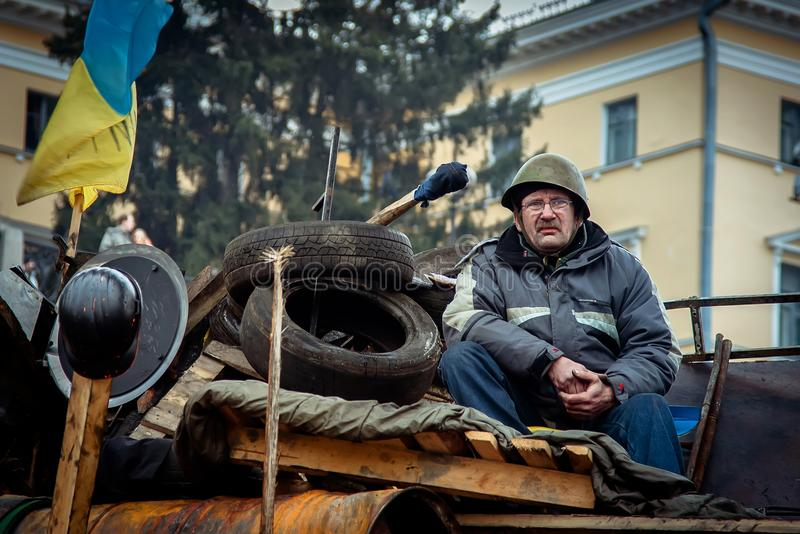 Kiev. Ukraine. February 23, 2014. People protesting on the barricades of the EuroMaidan. royalty free stock photo