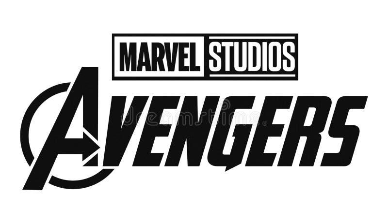 Set of Avengers and Marvel Studios logos printed on paper. Kiev, Ukraine - February 20, 2019: Set of Avengers and Marvel Studios logos printed on paper