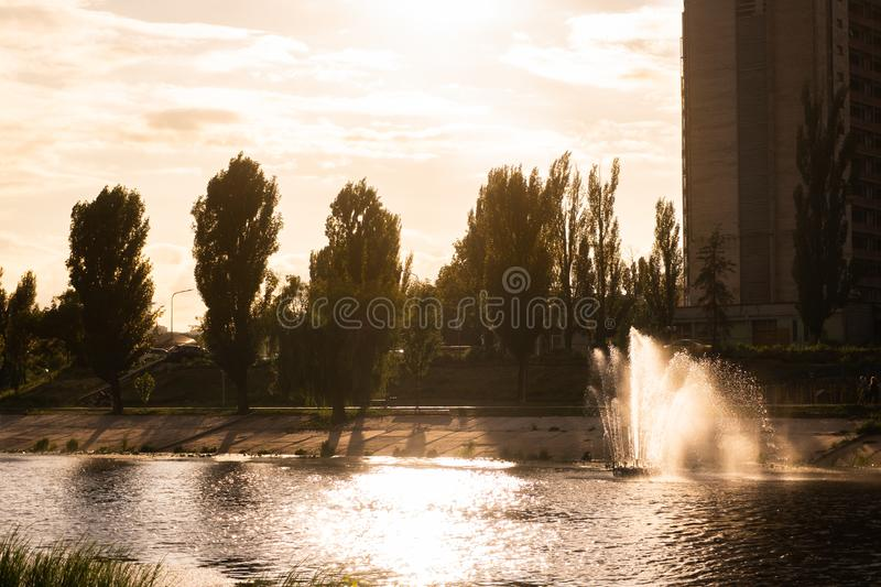 Kiev, Ukraine. fountains on the Bank of the river Kiev, Ukraine. fountains on the Bank of the river. Kiev, Ukraine. fountains on the Bank of the river. Kiev stock images