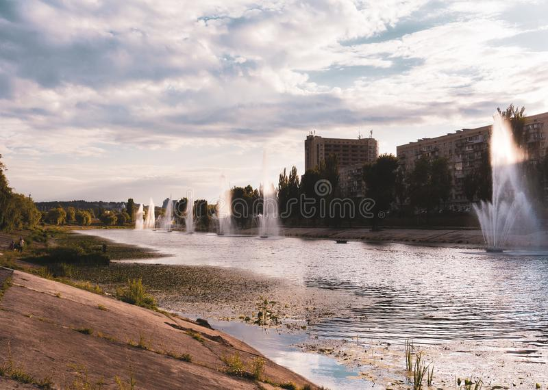 Kiev, Ukraine. fountains on the Bank of the river.  stock image