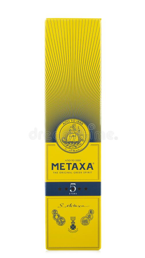 Metaxa a Greek liqueur based on brandy blended with wine and flavorings isolated on white background. Field with Clipping Path stock photography