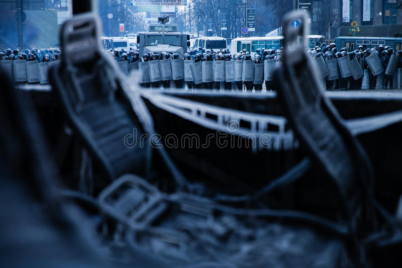 KIEV, UKRAINE - January 20, 2014: The morning after the violent stock images