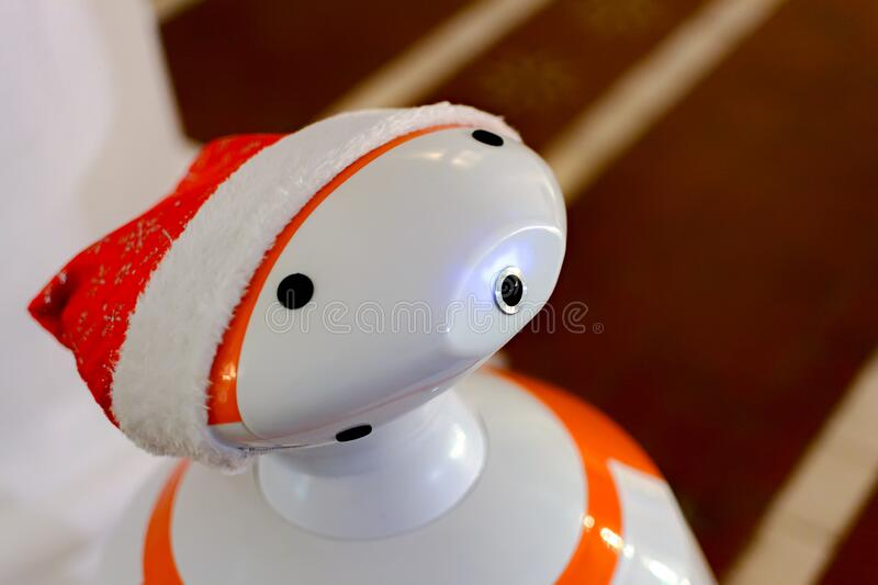 KIEV, Ukraine - January 08,2017: Smart robot who knows how to talk to people. Artificial Intelligence.  royalty free stock images