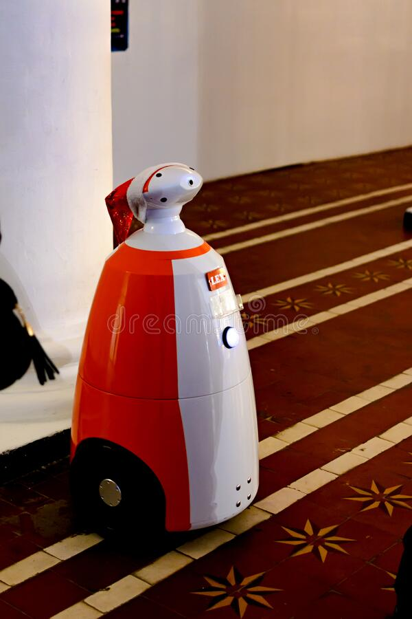 KIEV, Ukraine - January 08,2017: Smart robot who knows how to talk to people. Artificial Intelligence.  stock image