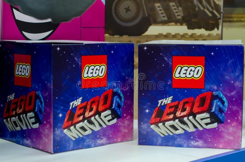 Kiev, Ukraine - 27 janvier 2019 : Le logo de Lego Movie 2 sur la boîte photographie stock libre de droits
