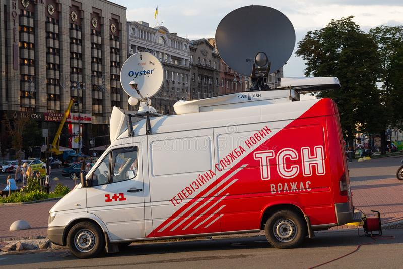 Kiev, Ukraine - 13 juillet 2018 : Studio mobile de TV du service d'actualités ukrainien photographie stock