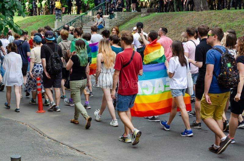 Kiev, Ukraine - 23 juin 2019 Mars d'égalité Marche KyivPride de LGBT D?fil? homosexuel images libres de droits
