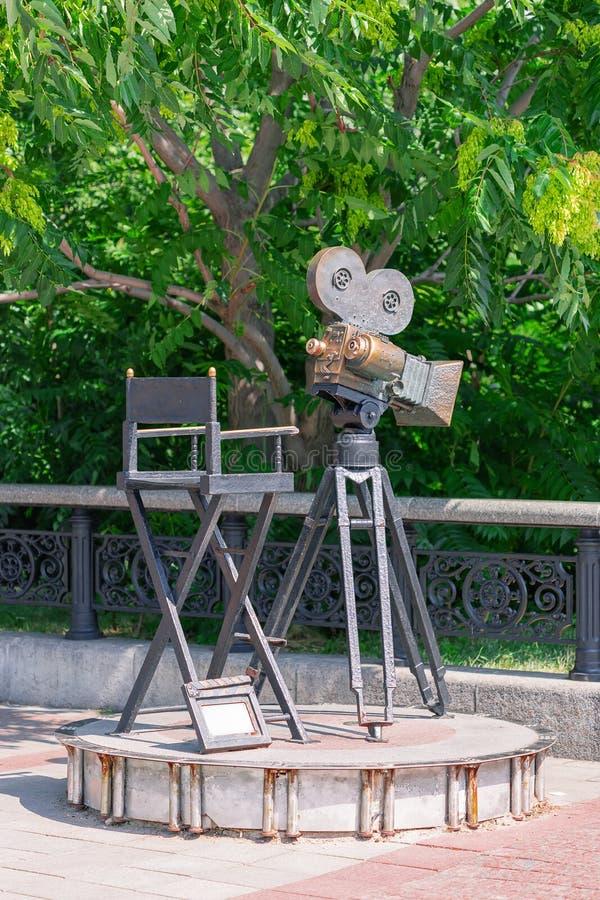 Kiev, Ukraine - July 20, 2019: Monument of Movie Camera and Cameraman Cinema Director Chair stock photos