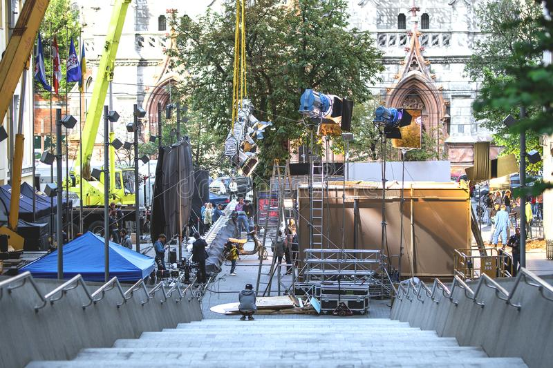 Kiev, Ukraine - July 15, 2017 Outdoors movie set. Cinema production scene at city street. Candid real filmmaking. royalty free stock photography