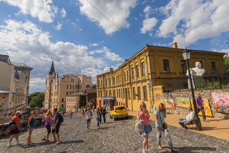 Kiev, Ukraine - July 02, 2017: Peoples walk on Andreevsky Descent street. The historic part of the city royalty free stock photos