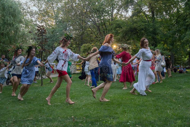 Kiev, Ukraine - July 06, 2018: Womens lead a dance to celebrate the traditional Slavic holiday royalty free stock images
