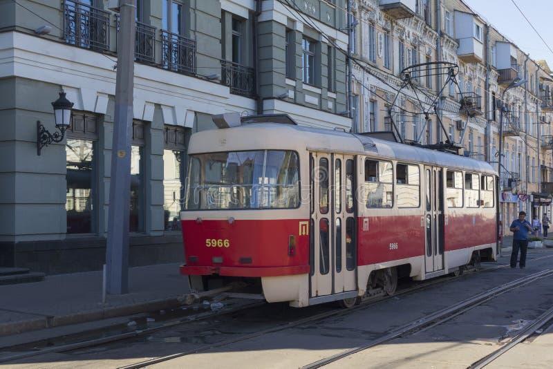 Kiev, Ukraine- June 21, 2017: Tram at the final stop royalty free stock image