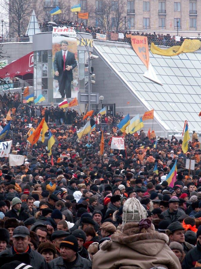Kiev, Ukraine - 27 11 2004 La révolution orange à Kiev photos stock