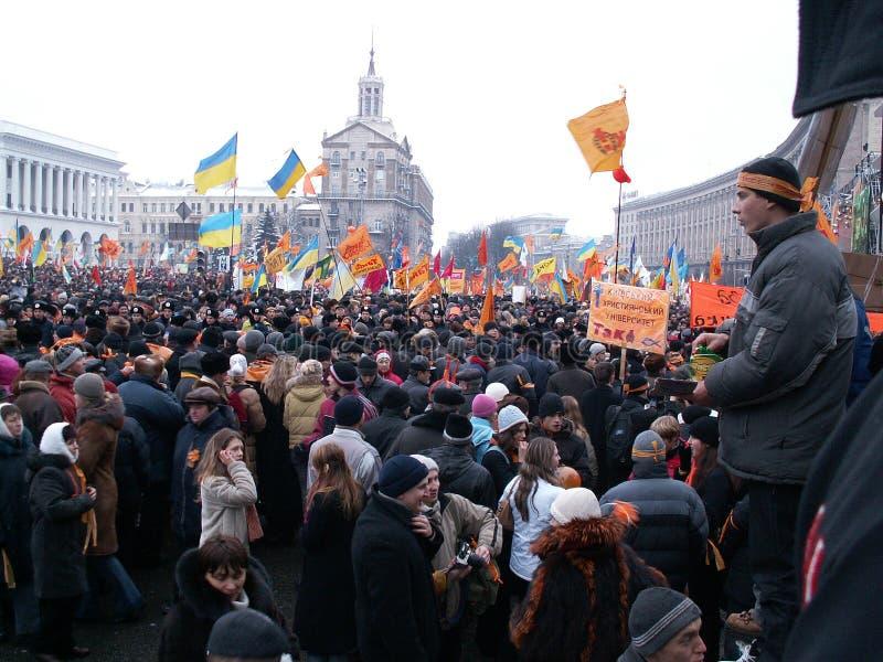 Kiev, Ukraine - 27 11 2004 La révolution orange à Kiev photo stock