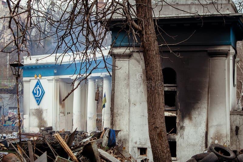 kiev Ukraine Luty 23, 2014 Środkowa ulica miasto po szaleć barykady podczas EuroMaidan obrazy royalty free