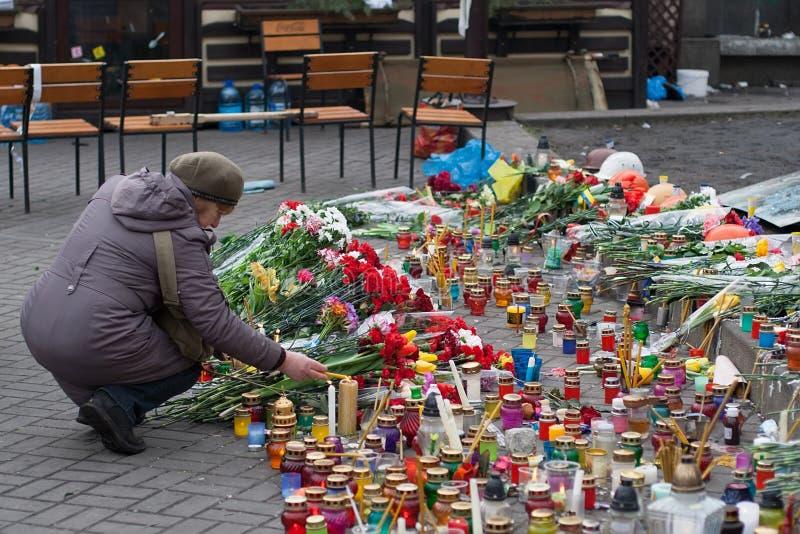 kiev Ukraine Luty 23, 2014 Środkowa ulica miasto po szaleć barykady podczas EuroMaidan obraz royalty free