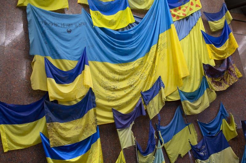 Kiev, Ukraine - 18 mai 2019 : Drapeaux des unit?s militaires participant aux hostilit?s dans l'est du pays photo libre de droits