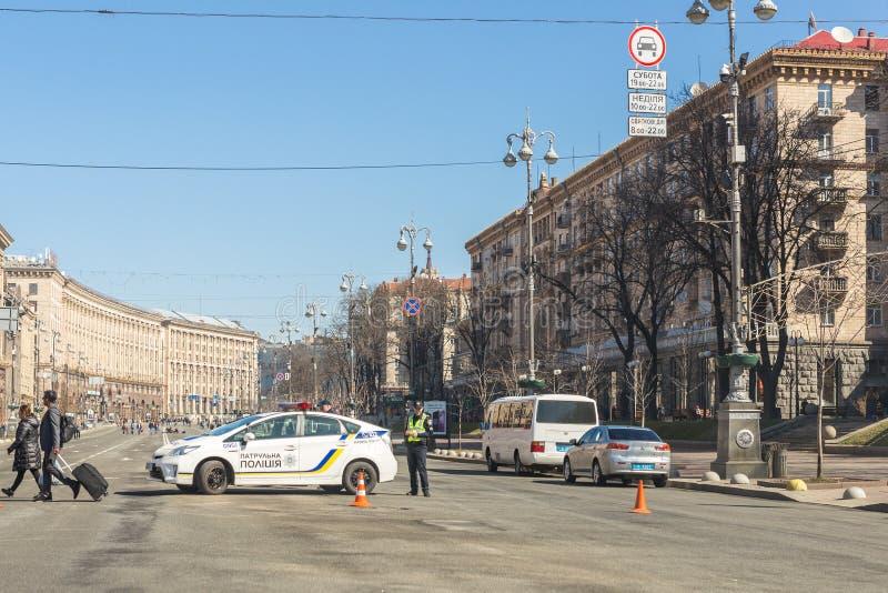 Kiev, Ukraine - 6 mai 2017 : La rue centrale de Kyiv capitale ukrainien Khreschatyk s'est fermée pour le trafic en la voiture de  photos stock