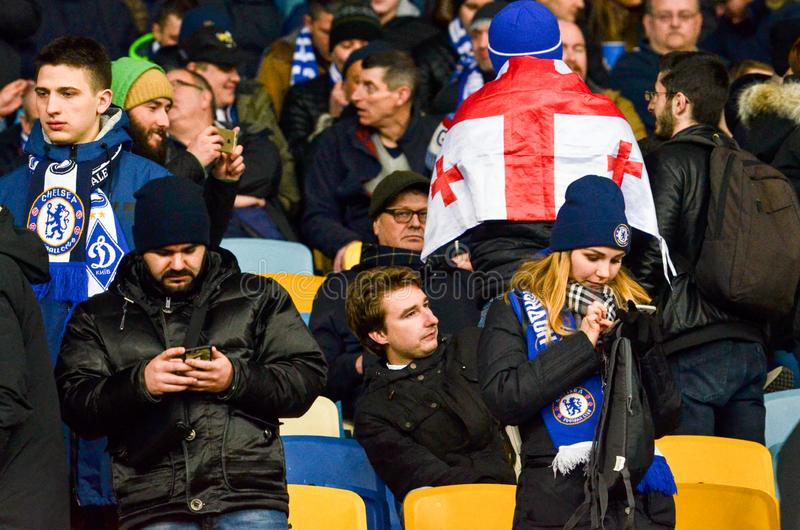Kiev, UKRAINE - March 14, 2019: Chelsea  fans support the team during the UEFA Europa League match between Dynamo Kiev vs Chelsea. (London, England), NSC royalty free stock photos