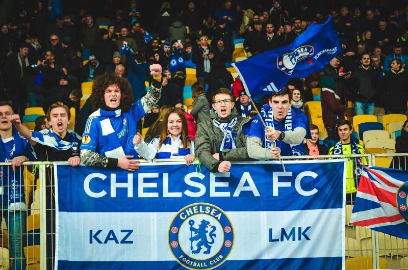 Kiev, UKRAINE - March 14, 2019: Chelsea  fans support the team during the UEFA Europa League match between Dynamo Kiev vs Chelsea. (London, England), NSC stock photo