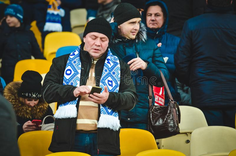 Kiev, UKRAINE - March 14, 2019: Chelsea  fans support the team during the UEFA Europa League match between Dynamo Kiev vs Chelsea. (London, England), NSC stock image