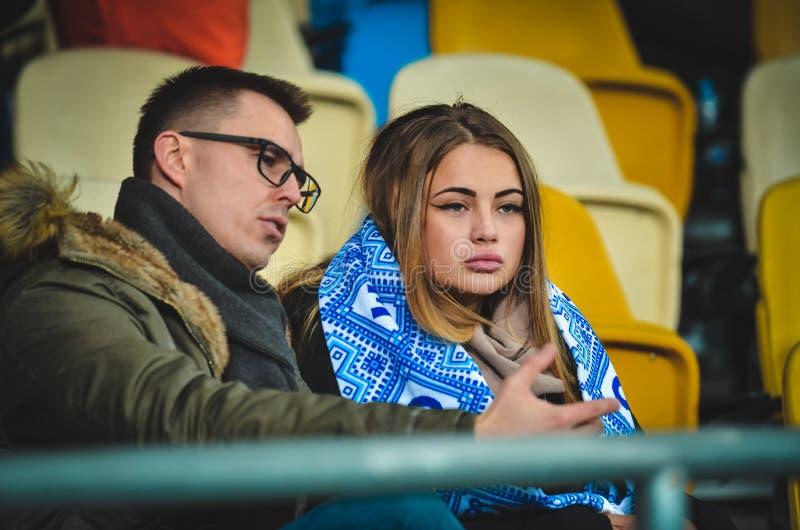 Kiev, UKRAINE - March 14, 2019: Chelsea  fans support the team during the UEFA Europa League match between Dynamo Kiev vs Chelsea. (London, England), NSC royalty free stock photo