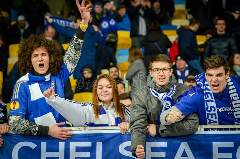 Kiev, UKRAINE - March 14, 2019: Chelsea  fans support the team during the UEFA Europa League match between Dynamo Kiev vs Chelsea. (London, England), NSC stock images