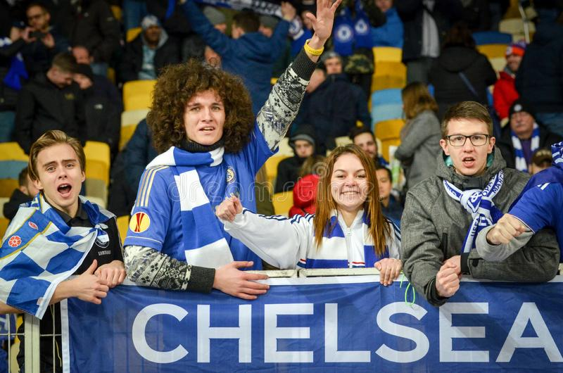 Kiev, UKRAINE - March 14, 2019: Chelsea  fans support the team during the UEFA Europa League match between Dynamo Kiev vs Chelsea. (London, England), NSC royalty free stock image