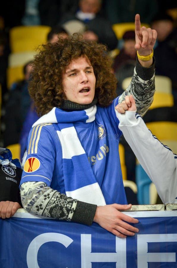 Kiev, UKRAINE - March 14, 2019: Chelsea  fans support the team during the UEFA Europa League match between Dynamo Kiev vs Chelsea. (London, England), NSC stock photos