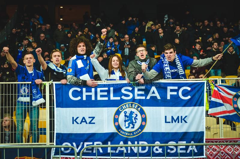 Kiev, UKRAINE - March 14, 2019: Chelsea  fans support the team during the UEFA Europa League match between Dynamo Kiev vs Chelsea. (London, England), NSC royalty free stock photography