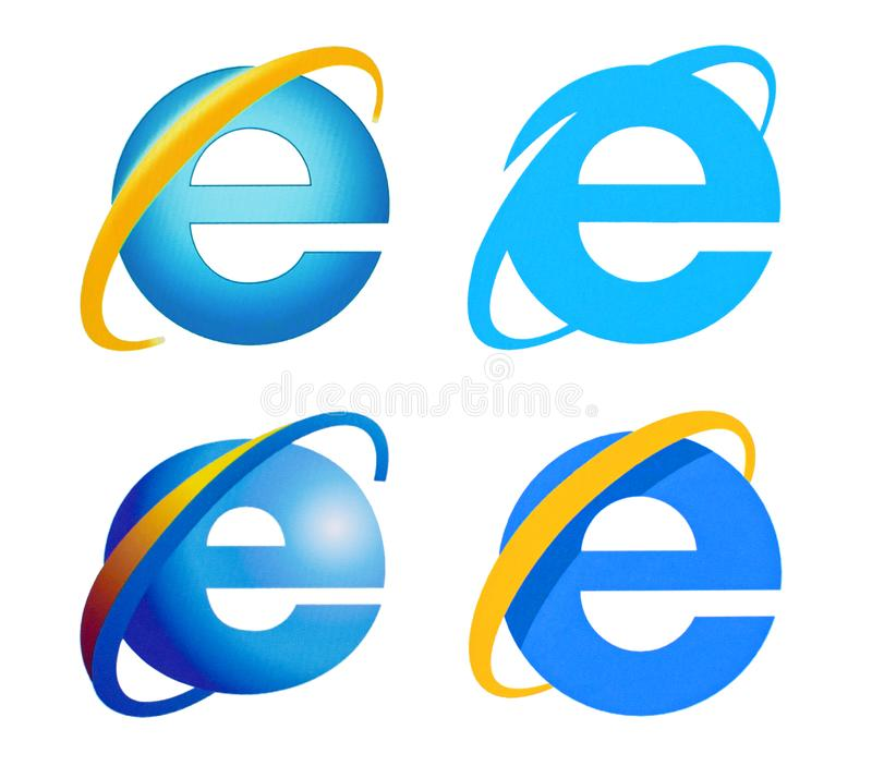 Collection of Internet Explorer logo. Kiev, Ukraine - March 30, 2016: Collection of Internet Explorer logo printed on paper and placed on white background stock photography